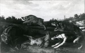 Honden vallen jonge wilde zwijnen aan