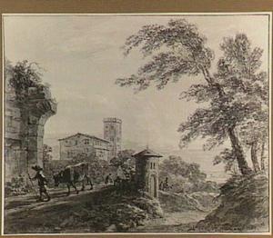 Italianiserend landschap met figuren en een koe