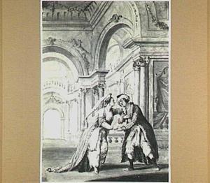 """Scène uit de opera """"De onverwachte ontmoeting"""" van Chr. W. von Gluck"""