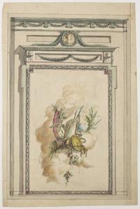 Decoratieve betimmering met allegorische voorstelling