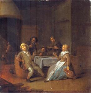 Drinkend en rokend gezelschap in een interieur