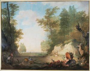 Managerie van Prins Willem V verbeeldende een landschap met exotische viervoeters