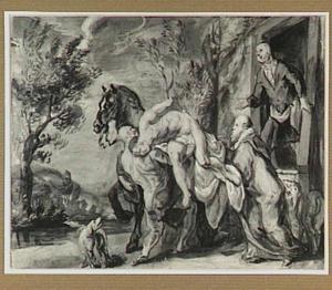 De barmhartige Samaritaan komt aan bij de herberg  (Lucas 10:25-37)