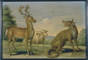 De fabel van het hert, het schaap en de wolf  (Aesopus)