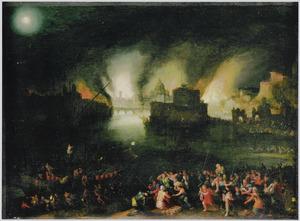 Aeneas redt zijn vader Anchises uit het brandende Troje
