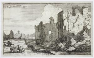 Kasteel Breukelen (vermoedelijk: Oud-Gunterstein) na de verwoesting door Franse troepen in 1673