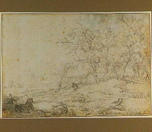 Landschap met boerderij en figuren, op de achtergrond een kerk (Muiderberg?)