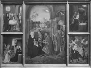 De annunciatie en de vlucht naar Egypte (links), de aanbidding van de Wijzen (midden), de geboorte en de presentatie in de tempel (rechts)
