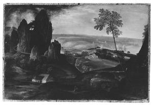 Landschap met rotsgebergte en watermolen