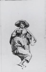 Staande vrouw met hoed en wasmand en zittende man
