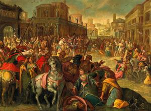 Stadsgezicht met de verzoening tussen de Romeinen en de Sabijnen