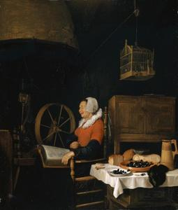 Slapende vrouw met een boek op haar schoot in een interieur