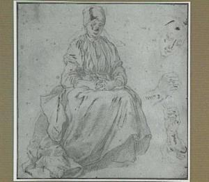 Zittende vrouw en studies van een kop en twee handen