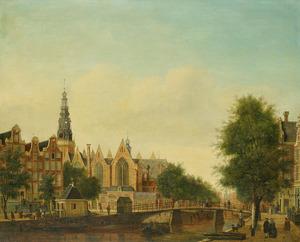 De Oude Kerk in Amsterdam geziien vanaf de Oudezijds Voorburgwal