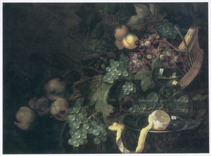 Vruchtenstilleven met een roemer en een geschilde citroen