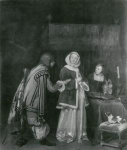 Een jonge vrouw die een brief ontvangt van een jonge man
