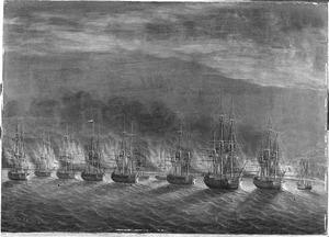 Het verbranden van de versterkingen bij Toeloe Catapang, door 's lands eskader onder commando van kapitein J.P. van Braam, tijdens de expeditie naar Oost-Indië, 1784
