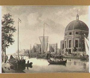 Gezicht op de Lutherse kerk te Amsterdam met op de voorgrond het Engelse schip 'The Royal Barge'