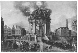 Gezicht op de Meir te Antwerpen, met het altaar opgericht t.g.v. de jubelfeesten van 1685 (inname van de stad door de Spanjaarden, 17 augustus 1585)