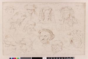 Studie van Margaretha van de Elzas, Boudewijn V van Henegouwen en negen studies van hoofdtooi