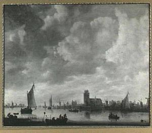 Gezicht op de Merwede voor Dordrecht