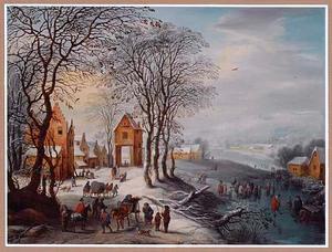 Winterlandschap met reizigers bij een dorp aan een rivier