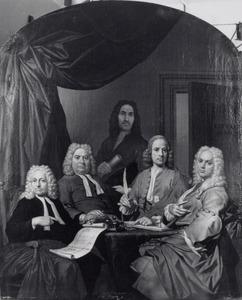 Groepsportret van de vier eerste regenten van het Hofje van Staats te Haarlem