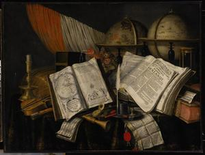 Vanitasstilleven met vaandel, globes en andere voorwerpen op een gedekte tafel