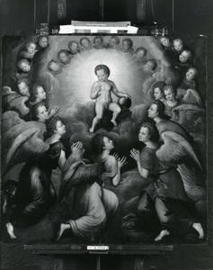 Christuskind in glorie aanbeden door engelen