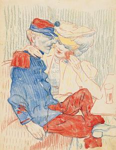 Een paar in een Parijs café