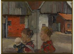 Rear gables of farm buildings with figures