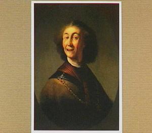 Borststuk van een lachende man met halsberg