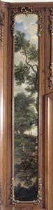 Bosrijk klassiek arcadisch landschap met wandelaar met knapzak