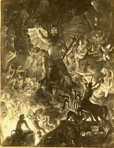 De duivel in de hel met zijn volgelingen