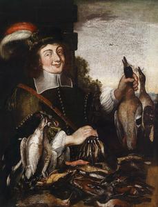 Een jonge jager met zijn buit