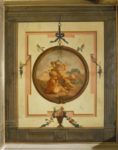 Trompe l'oeil met medaillon verwijzend de herfst