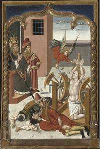 De vernieling van het rad tijdens het martelaarschap van de H. Catharina
