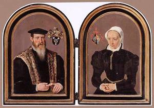 Diptiek met de portretten van een man uit de familie Van Zuudt en een vrouw uit de familie Van Heinsberghe