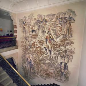 Allegorie op de koloniale bos-en landbouw en het bestuur met onder andere Eduard Douwes Dekker