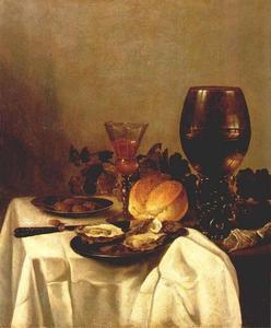 Stilleven met oesters, brood, druiven, wijnglas, bokaal