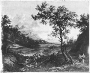 Zuidelijk landschap met twee vrouwen en een kind onderweg