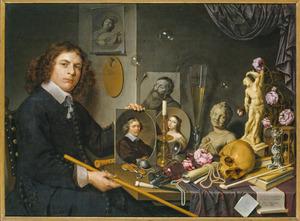 Vanitas met portret van een jonge schilder