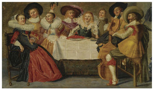 Elegant musicerend gezelschap aan tafel in een interieur