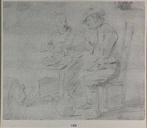 Etend boerenpaar bij een wijnvat