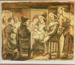 Figuren gezeten rondom een tafel