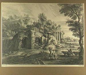 Landschap met klassieke ruïne