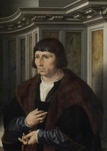 Portret van een man met een rozenkrans