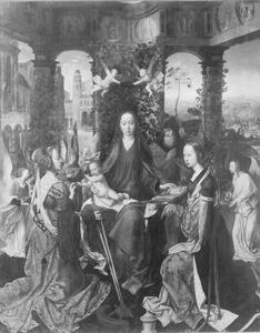 De heilige familie met de H. Catharina, Maria Magdalena en engelen