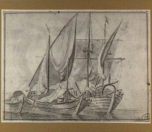 Drie zeilschepen beladen met vracht