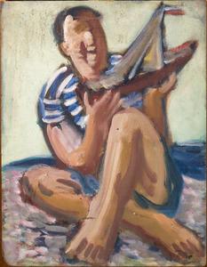 Jonge man met speelgoedboot op de kade